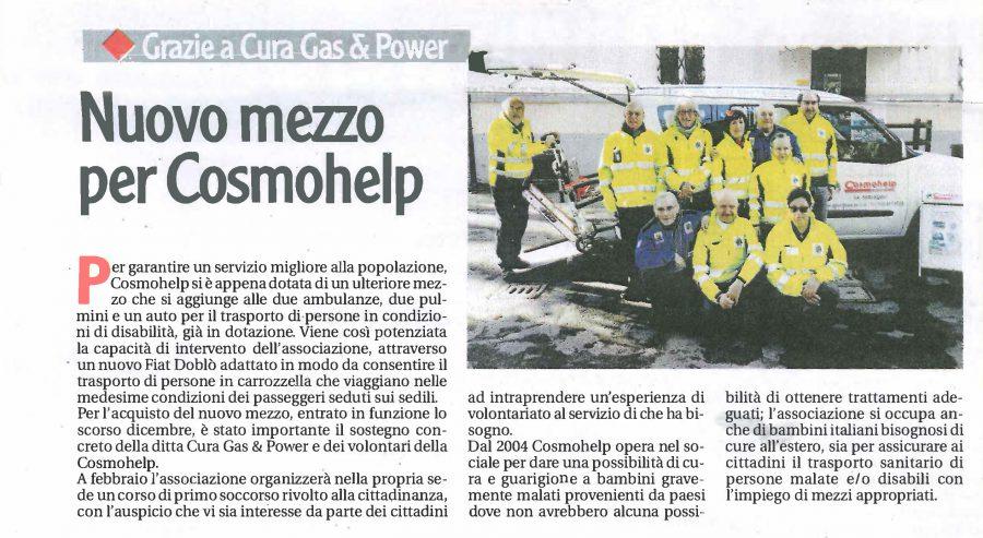 Cura Gas & Power sostiene Cosmohelp